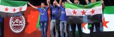 علم الثورة السورية يرتفع في المسابقة العالمية للروبوت في أمريكا
